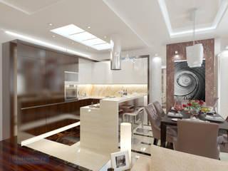 Студия интерьера Дениса Серова Modern kitchen Tiles Brown