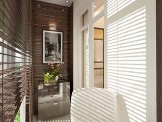 Студия интерьера Дениса Серова Minimalist balcony, veranda & terrace
