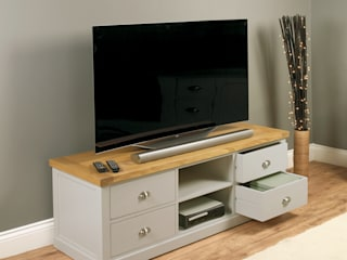 Grey TV Unit with 4 Drawers from our Chadwick Range:   by Big Blu Furniture