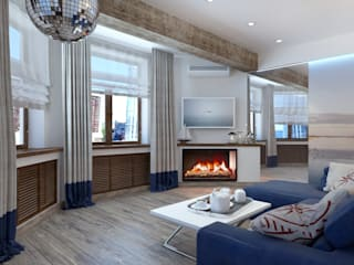 ДизайнМастер Ruang Keluarga Gaya Mediteran Blue