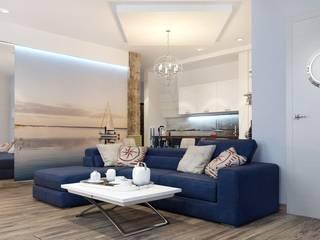 ДизайнМастер Ruang Keluarga Gaya Mediteran White