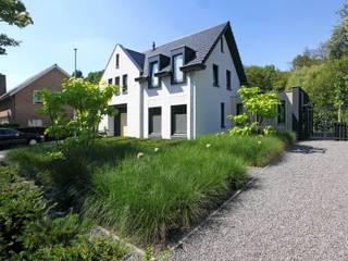 Strakke tuin tegen groene achtergrond: moderne Tuin door Stoop Tuinen