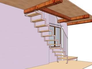 scala minimal acciaio e legno:  in stile  di h-project.it
