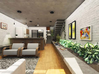 CEU Arquitetos Living room Bricks White