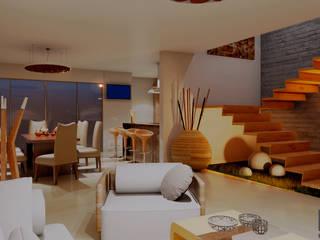 CASA HABITACION FRACC. CASA FUERTE: Salas de estilo  por EKA ARQUITECTURA