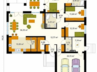 Paredes e pisos modernos por Biuro Projektów MTM Styl - domywstylu.pl Moderno