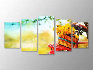 Özgün Dekor – 5 Parçalı Kanvas Tablo Bisiklet Sarı Çiçekler:  tarz