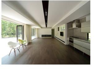 VILLA SILVA |軽井沢の別荘建築: Mアーキテクツ|高級邸宅 豪邸 注文住宅 別荘建築 LUXURY HOUSES | M-architectsが手掛けたリビングです。,