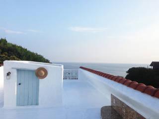 秋谷 CASA Y/Y ラスティックデザインの テラス の Mアーキテクツ|高級邸宅 豪邸 注文住宅 別荘建築 LUXURY HOUSES | M-architects ラスティック