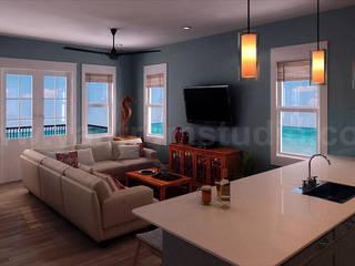 Wohn-Interieur Wohnzimmer Design Rendering - YantramStudio:   von yantramstudio