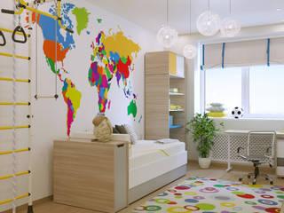 Стильная и уютная квартира для молодой семьи.: Детские комнаты в . Автор – Бюро9 - Екатерина Ялалтынова