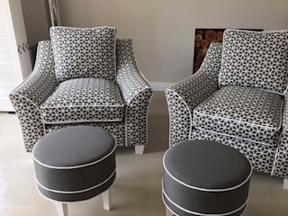 OUTSIDERS Prism Fabric Designer Chairs with Occasional Ottomans:   by Blake Matthew Design