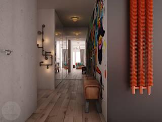 Nevi Studio Pasillos, vestíbulos y escaleras industriales Concreto Multicolor