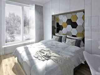 Skandynawska sypialnia - Gdańsk, osiedle Słoneczna Morena Skandynawska sypialnia od Pracownia Projektowa MOJE Skandynawski