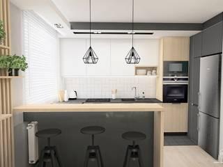 Strefa dzienna - Gdańsk, osiedle Wiszące Ogrody: styl , w kategorii Kuchnia zaprojektowany przez Pracownia Projektowa MOJE