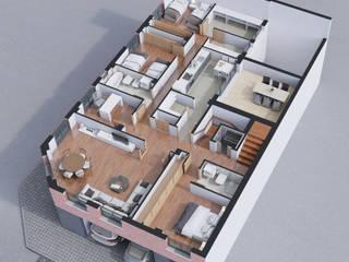 Plano 3D de vivienda en Valdepeñas (Ciudad Real):  de estilo  de A3D INFOGRAFIA