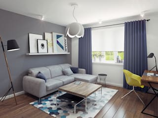 Small studio for young man in Krasnogorsk city: modern Living room by Ksenia Konovalova Design
