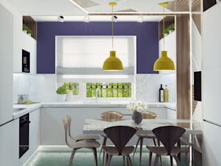 Small kitchen interior design Ksenia Konovalova Design Modern Kitchen Wood White