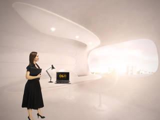 Organische werkruimte in energie-autarkisch villa, Almere:  Studeerkamer/kantoor door OLA architecten