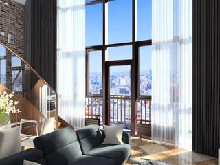 113_Однушка в 2 уровня: Гостиная в . Автор – Дизайн студия Алексея Каверина