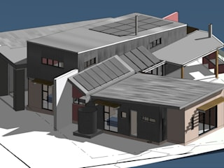 3D View Northeast: modern Houses by Architects Unbound (Pty) Ltd.