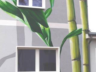 Zahnarzt Praxis Fassadengestaltung mit Logo Darstellung von Wandgestaltung Graffiti Airbrush von Appolloart Asiatisch