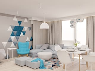Projekt mieszkania 63m2 w Dąbrowie Górniczej: styl , w kategorii Salon zaprojektowany przez Ale design Grzegorz Grzywacz