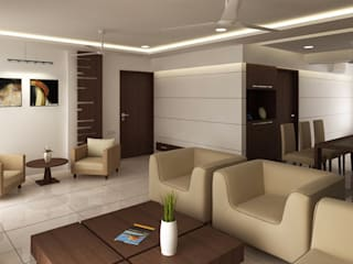 RESIDENTIAL PROJECT:  Living room by ABHISHEK DANI DESIGN,