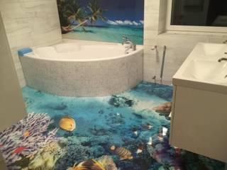 Posadzka żywiczna 3d w łazience: styl , w kategorii Łazienka zaprojektowany przez Resinfloor - Kamil Wodecki