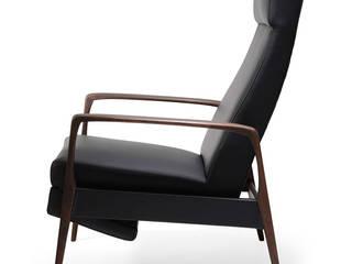 Rozkładany skórzany fotel skandynawski, lata 60. od White Mood S.C. Skandynawski