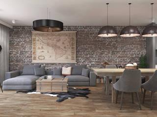 Dom w Rumi Rustykalny salon od Studio Projektowe Kreatura Rustykalny