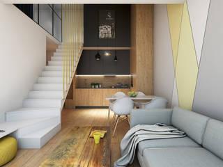 Apartament z antresolą na Wiczlinie: styl , w kategorii Salon zaprojektowany przez Studio Projektowe Kreatura