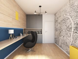 Apartament z antresolą na Wiczlinie: styl , w kategorii Domowe biuro i gabinet zaprojektowany przez Studio Projektowe Kreatura