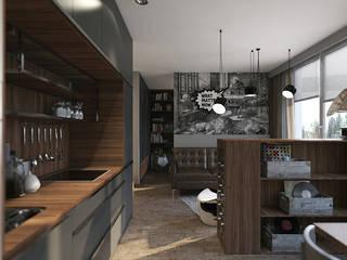 Jaskinia lwa, czyli męski apartament: styl , w kategorii Salon zaprojektowany przez Studio Projektowe Kreatura