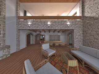 Estar recibidor doble altura: Salas / recibidores de estilo rústico por ROQA.7 ARQUITECTOS