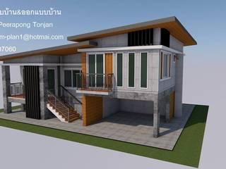 บ้าน1ชั้น ยกสูง โดย รับเขียนแบบบ้าน&ออกแบบบ้าน โมเดิร์น คอนกรีต
