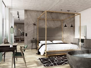 razoo-architekci Eclectic style bedroom
