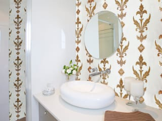 Etched Bianco Dolomite Marble Tile in Gold Coffee Bias : mediterranean Bathroom by Elalux Tile
