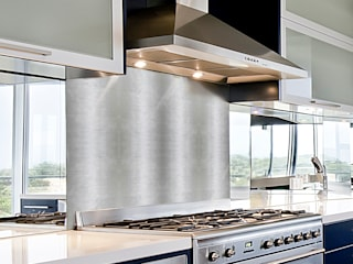 Etched White Marble Border in Silver, Shiny: modern Kitchen by Elalux Tile