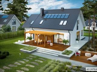 Projekt Katrina (mała) G1 - nowoczesny dom z poddaszem i garażem Nowoczesne domy od Pracownia Projektowa ARCHIPELAG Nowoczesny