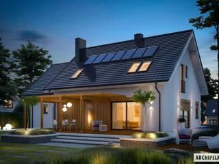 Projekt Katrina (mała) G1 - nowoczesny dom z poddaszem i garażem : styl , w kategorii Domy zaprojektowany przez Pracownia Projektowa ARCHIPELAG,Nowoczesny