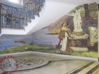 Decorazione vano scala a tre livelli con affresco digitale:  in stile  di Demart Interior Decoration
