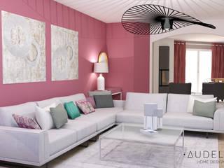 Espace salon / modèle 3D:  de style  par AUDELIA HOME DESIGN