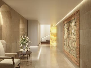 Private Residence, Azerbaijan Modern corridor, hallway & stairs by ÜberRaum Architects Modern