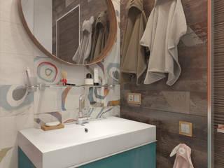 «Life in color». Двухкомнатная квартира в Подмосковье.: Ванные комнаты в . Автор – Мастерская дизайна Welcome Studio, Минимализм