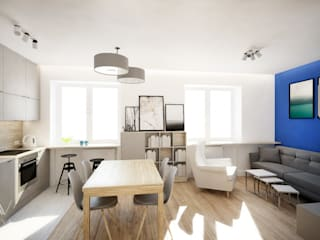 mieszkanie z akcentem kolorystycznym: styl , w kategorii Salon zaprojektowany przez Nova