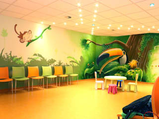 Tropischer Regenwald in Kinderarzt verzaubert Wartezeit:   von  Wandgestaltung Graffiti Airbrush von Appolloart