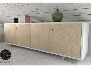 """Credenza design moderno bianca """"LASER"""":  in stile  di Ferrantelli Falegnameria Artigiani del Legno"""
