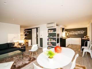 Ristrutturazione appartamento 50 mq Fabiola Ferrarello Livings de estilo moderno Madera Multicolor