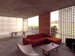 Lozano Arquitectos Living room Concrete Grey